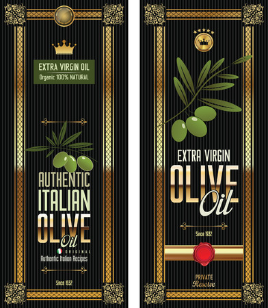Green Olive gold and black banner collection Vector