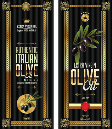 Black  Olive gold and black banner collection Vector