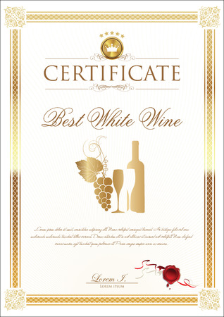 alcohol cardboard: Certificate - Best white Wine