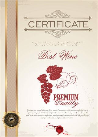 Certificate - Best Wine Vector