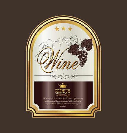 white wine: Wine label Illustration