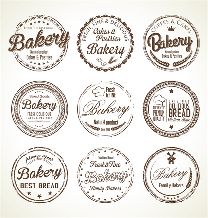 donut shop: Bakery retro grunge stamp collection