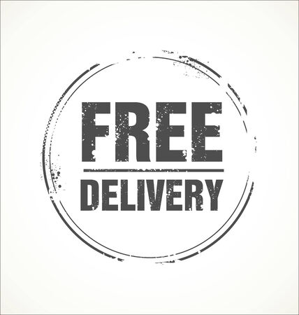 paper delivery person: Free delivery stamp Illustration
