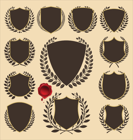 wreath collection: Medieval shields and laurel wreath collection