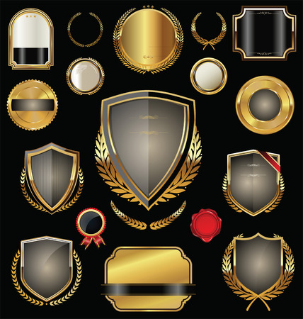 Golden shield, badges, labels and laurels Vector