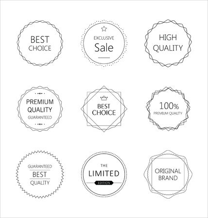 premium quality: Minimalistic premium quality badge set Illustration