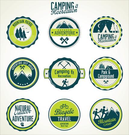 Set of vintage outdoor camp badges Vector