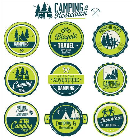 빈티지 야외 캠프 배지 세트
