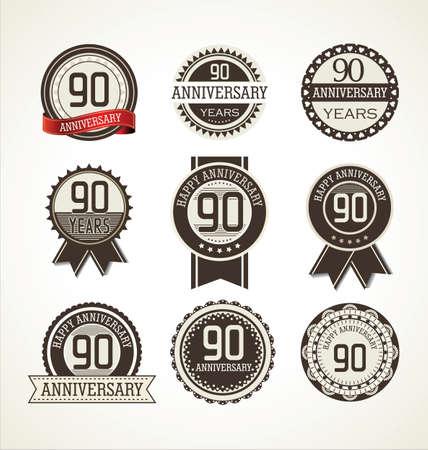 90 years: Label collection Anniversario, 90 anni Vettoriali