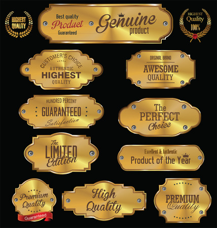 seal: Metal plates premium quality golden collection Illustration