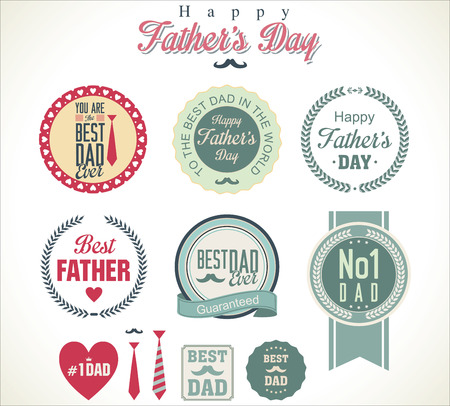 Vintage Happy Fathers Day badges Vector