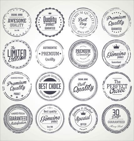 Premium quality retro grunge badges collection Illustration