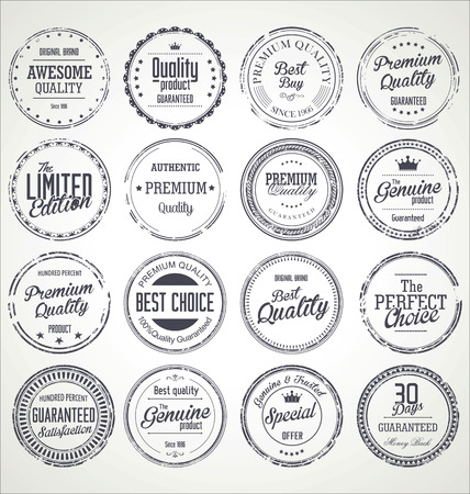 quality seal: Premium quality retro grunge badges collection Illustration