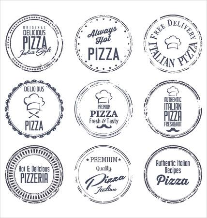 Pizza retro labels Vector