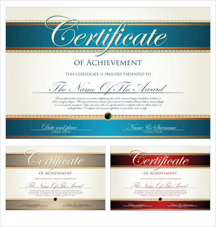 money border: Certificate template collection Illustration