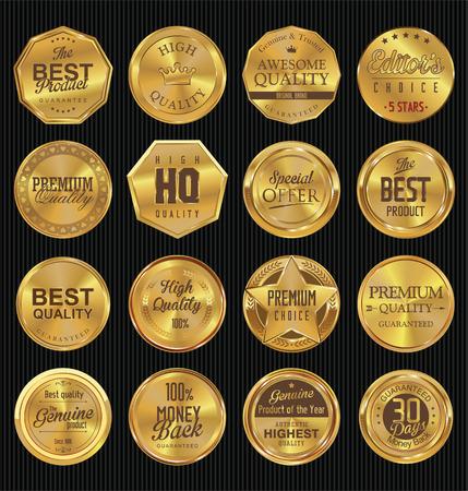 Premium, quality retro vintage golden labels collection