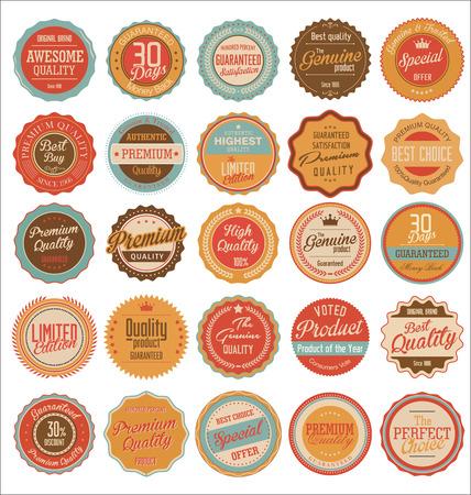 Retro Etiquetas de Primera Calidad Ilustración de vector