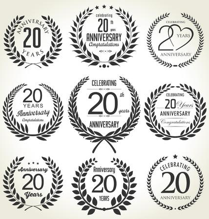 Anniversary laurel wreath design, 20 years Vectores