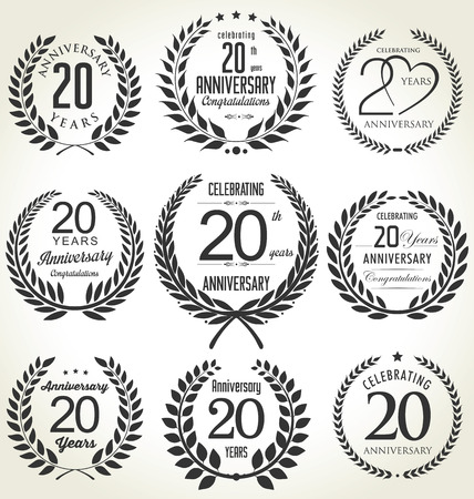 tenth birthday: Anniversary laurel wreath design, 20 years Illustration