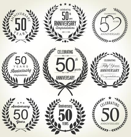 周年記念ローレル リース デザイン、50 年  イラスト・ベクター素材