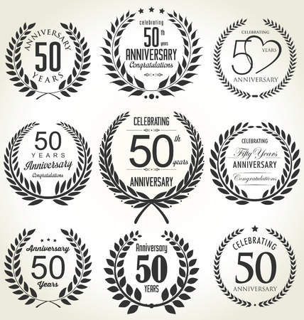 anniversary backgrounds: Anniversary laurel wreath design, 50 years