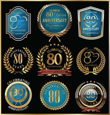 1 year anniversary: Anniversary labels and laurel wreaths