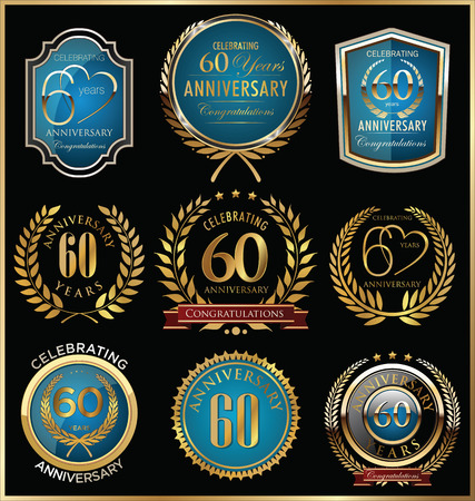 anniversary: Anniversary labels and laurel wreaths