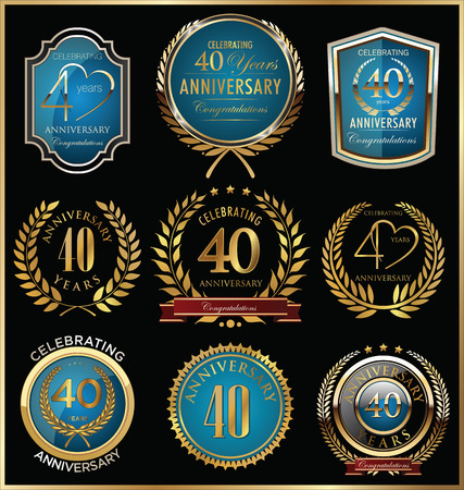 Anniversary labels and laurel wreaths