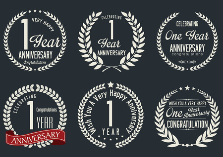 Anniversary laurel wreath design, 1 year Vector