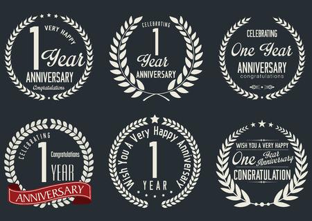 commemoration: Anniversary laurel wreath design, 1 year