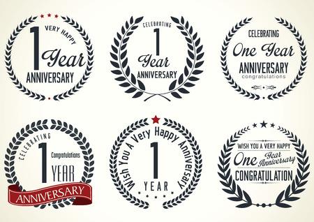 Anniversaire conception de couronne de laurier, 1 année Vecteurs