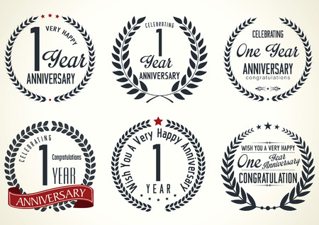 Anniversary laurel wreath design, 1  year