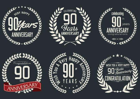 90 years: Anniversary laurel wreath design, 90 years Illustration
