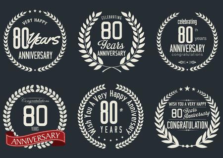 Anniversary laurel wreath design, 80 years Vector