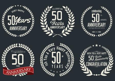tenth birthday: Anniversary laurel wreath design, 50 years