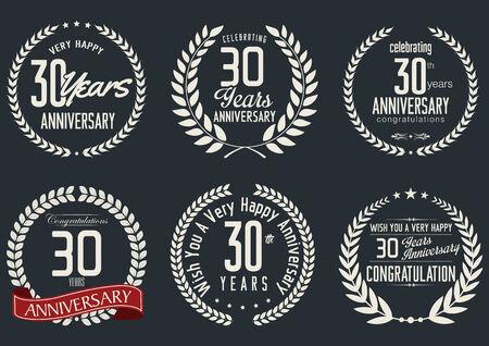 tenth birthday: Anniversary laurel wreath design, 30 years Illustration