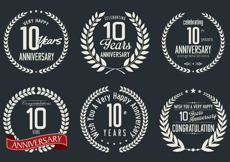tenth birthday: Anniversary laurel wreath design, 10 years Illustration