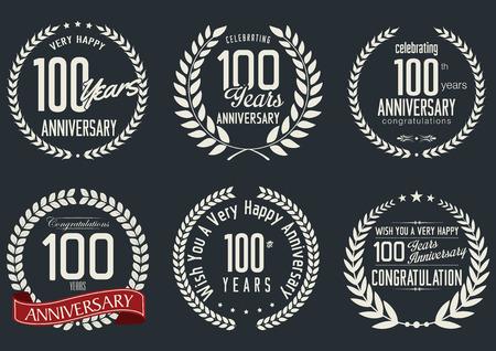 tenth birthday: Anniversary laurel wreath design, 100 years Illustration