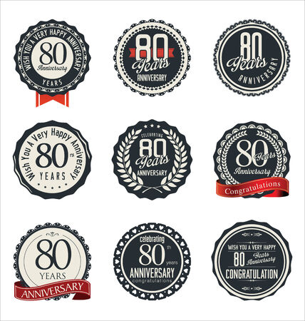 80 years: Anniversary retro badges and labels collection