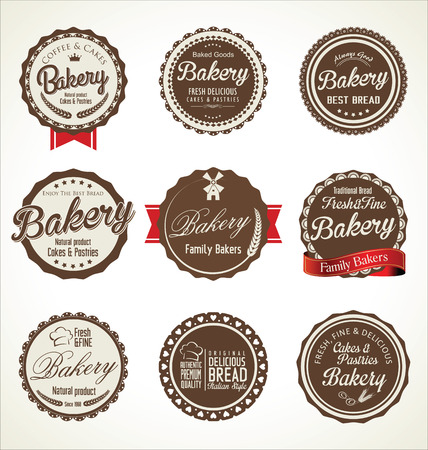 bakery retro badges collection Vector
