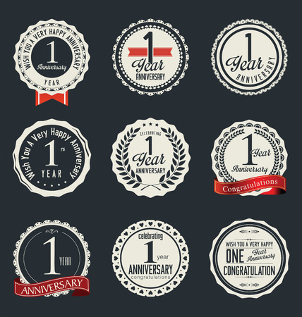 retro badge: Anniversary retro badges and labels collection