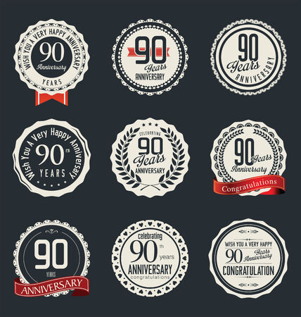90: Anniversary retro badges and labels collection