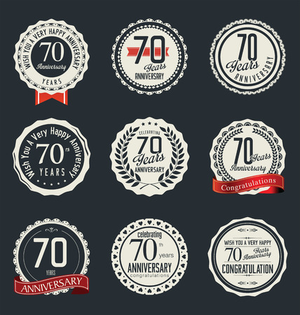 70: Anniversary retro badges and labels collection