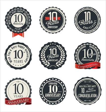 anniversary: Anniversary retro badges and labels collection