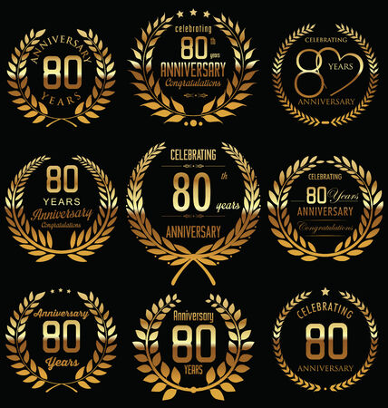 80th: 80th Anniversary golden laurel wreath design