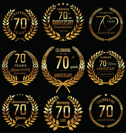 70th Anniversary golden laurel wreath design Vector
