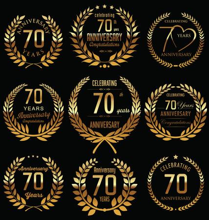 70: 70th Anniversary golden laurel wreath design Illustration