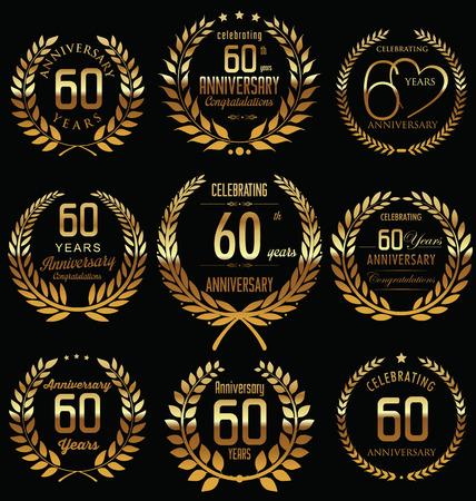 60th Anniversary golden laurel wreath design Vettoriali