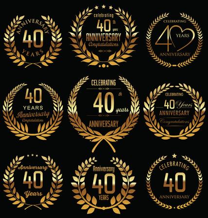 40th Anniversary golden laurel wreath design Vector