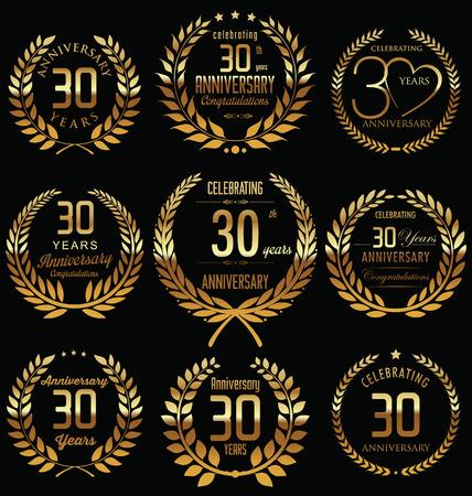 30th Anniversary golden laurel wreath design Vector